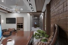 рабочий кабинет. Отделка стен декоративными деревянными панелями
